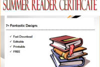 Fantastic Summer Reading Certificate Template FREE Customizable by Two Package