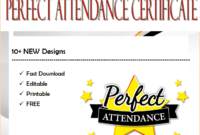 Free Perfect Attendance Certificate Word Template by Two Package