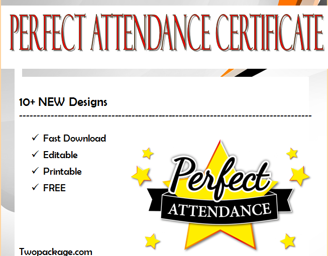 Free Perfect Attendance Certificate Word Template [2021 Updated Designs]