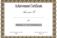 Free Printable Perfect Attendance Award Certificate (Classy Style)