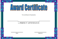 Free Printable Perfect Attendance Award Certificate (Neat Blue)
