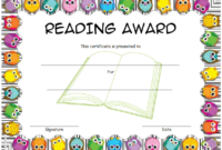 Funny Reading Award Certificate Template FREE (Owl Border Design)