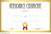 Luxury Gold Perfect Attendance Certificate Printable Free