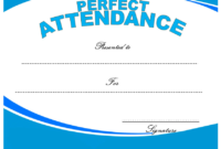 Perfect Attendance Certificate Printable Free for Students