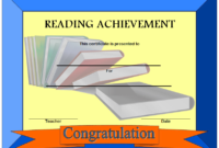 Reading Achievement Certificate Template FREE (Simple Blue)