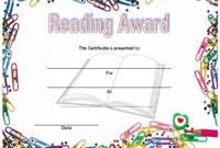 Reading Award Certificate Template FREE (Paper Clip Border Style)