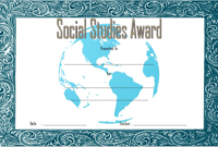 Social Studies Certificate of Award FREE Printable 1