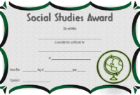 Social Studies Certificate of Award FREE Printable 4