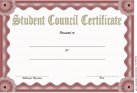 Student Council Certificate Template Free Download 2