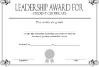 Student Leadership Award Certificate Template FREE 1