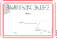Summer Reading Challenge Certificate FREE Printable (Light Red)