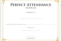 Super Elegant Perfect Attendance Certificate Printable Free