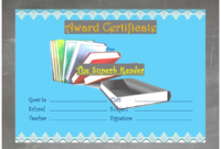 Superb Reading Award Certificate Template FREE