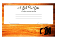 2018 Photoshoot Gift Certificate Template Free Printable