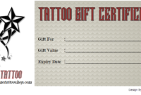 2020 Tattoo Gift Certificate Template FREE Printable (1st Version)