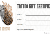 2020 Tattoo Gift Certificate Template FREE Printable (2nd Version)