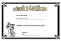 Animal Adoption Certificate FREE Printable for Cat (Cartoon Design)