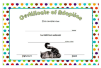 Animal Adoption Certificate FREE Printable for Cat (Dot Design)