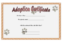 Animal Adoption Certificate Template Free with Cat Footprints