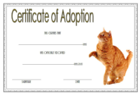 Animal Adoption Certificate Template for Cat (Simple Design)