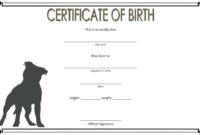 BW Dog Birth Certificate Printable Free