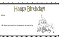 Birthday Gift Certificate Template Free (BW)