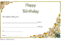 Birthday Gift Certificate Template Free Printable (Ancient Flower)