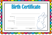Bunny Birth Certificate Template Free Customizable 1