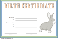 Bunny Birth Certificate Template Free Customizable 2