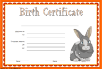 Bunny Birth Certificate Template Free Customizable 3
