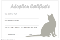 Cat Adoption Certificate Free Printable (3rd 2020 Design)