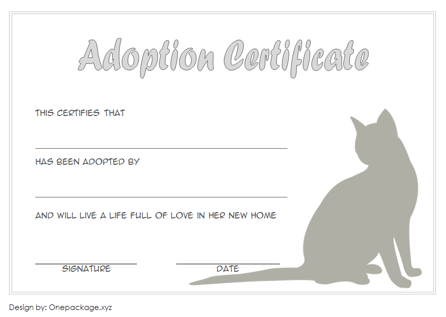 cat adoption certificate free printable, cat adoption gift certificate, kitten adoption certificate, animal adoption certificate, free pet adoption certificate template word