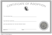 Cat Adoption Certificate Free Printable (4th 2020 Design)