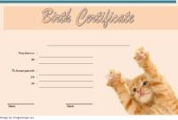 Cat Birth Certificate Template 2020 FREE Download (Version 1)