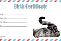 Cat Birth Certificate Template FREE Printable (2nd Design)