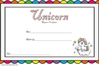 Colorful Unicorn Adoption Certificate Free Printable for Birthday Party