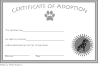 Dog Adoption Certificate Free Printable (Semi-Official Design)