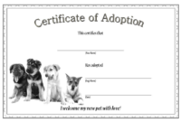 Dog Adoption Certificate Template Free (Official Design)