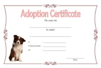 Dog Adoption Certificate Template Free Printable