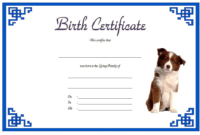 Dog Birth Certificate Printable Free (Blue)