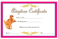 Elegant Cat Adoption Certificate Free Printable