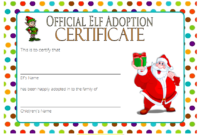 Elf Adoption Certificate Free Printable Template with Santa