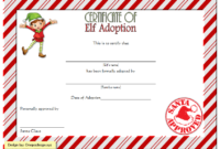 Elf Adoption Certificate Free Printable Template with Santa Stamp