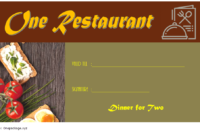 Free Dinner for Two Gift Certificate Template