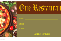 Free Dinner for Two Gift Certificate Template Pizza