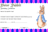 Free Peter Rabbit Birth Certificate Template (3rd Design)