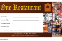 Free Printable Restaurant Gift Certificate Template (1st Design)