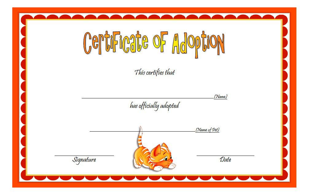 cat adoption certificate free printable, cat adoption gift certificate, kitten adoption certificate, animal adoption certificate, free pet adoption certificate template word
