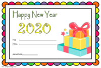 Happy New Year Gift Card Template FREE 2020