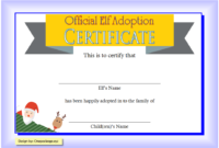 NEW Elf on The Shelf Reindeer Adoption Certificate Template